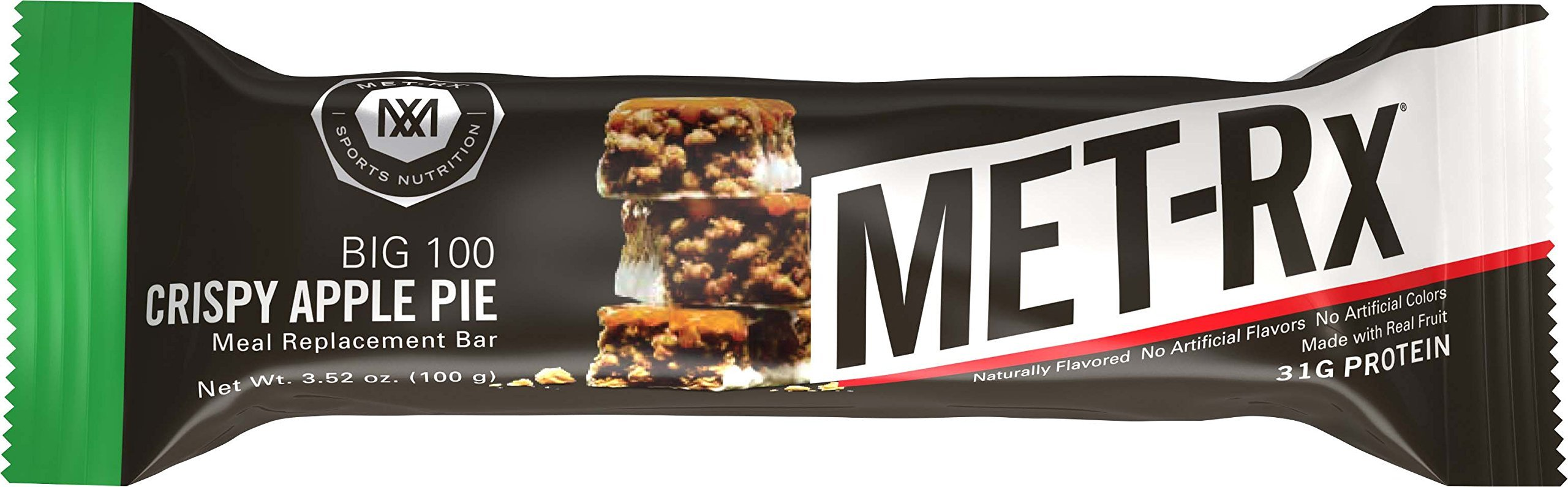 MET-Rx Big 100 Colossal Protein Bars, Great as Healthy Meal Replacement, Snack, and Help Support Energy, Gluten Free, Crispy Apple Pie, 100 g, 4 Count (Pack of 2) by MET-Rx