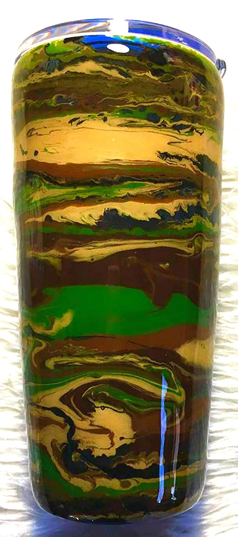 Green Black Hunter READY TO SHIP Fishing 20 oz Hunting Brown Fisherman Gift for Man Tan Insulated Camo Duck Deer Fish Hook Tumbler Dad