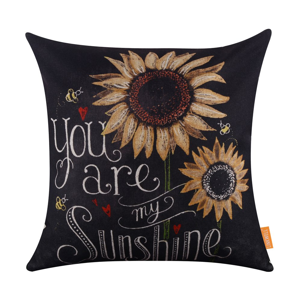 LINKWELL 18x18 Blackboard Art Monogram You are My Sunshine Sunflower Linen Cushion Covers Pillow Case