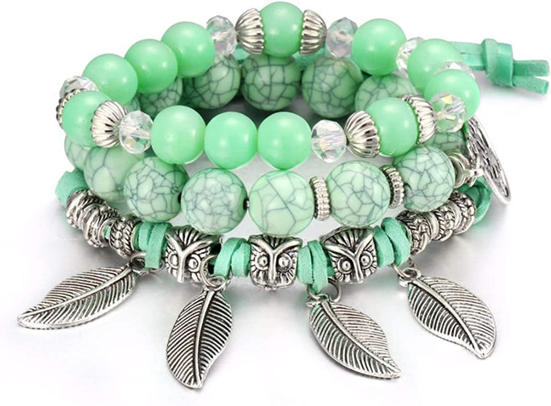Daawqee Pulseras Bohemian Charm Bracelets Hot Bangles Crystal Rhinestone Beads Leaves Pendant Charms Wrap Bracelets Leather Rope Tassels