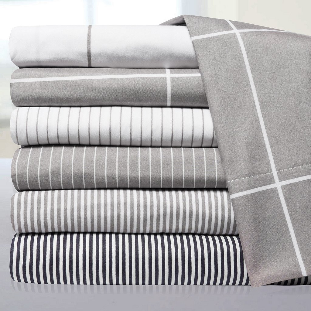 4 Piece Set - Gray Stripe - Queen