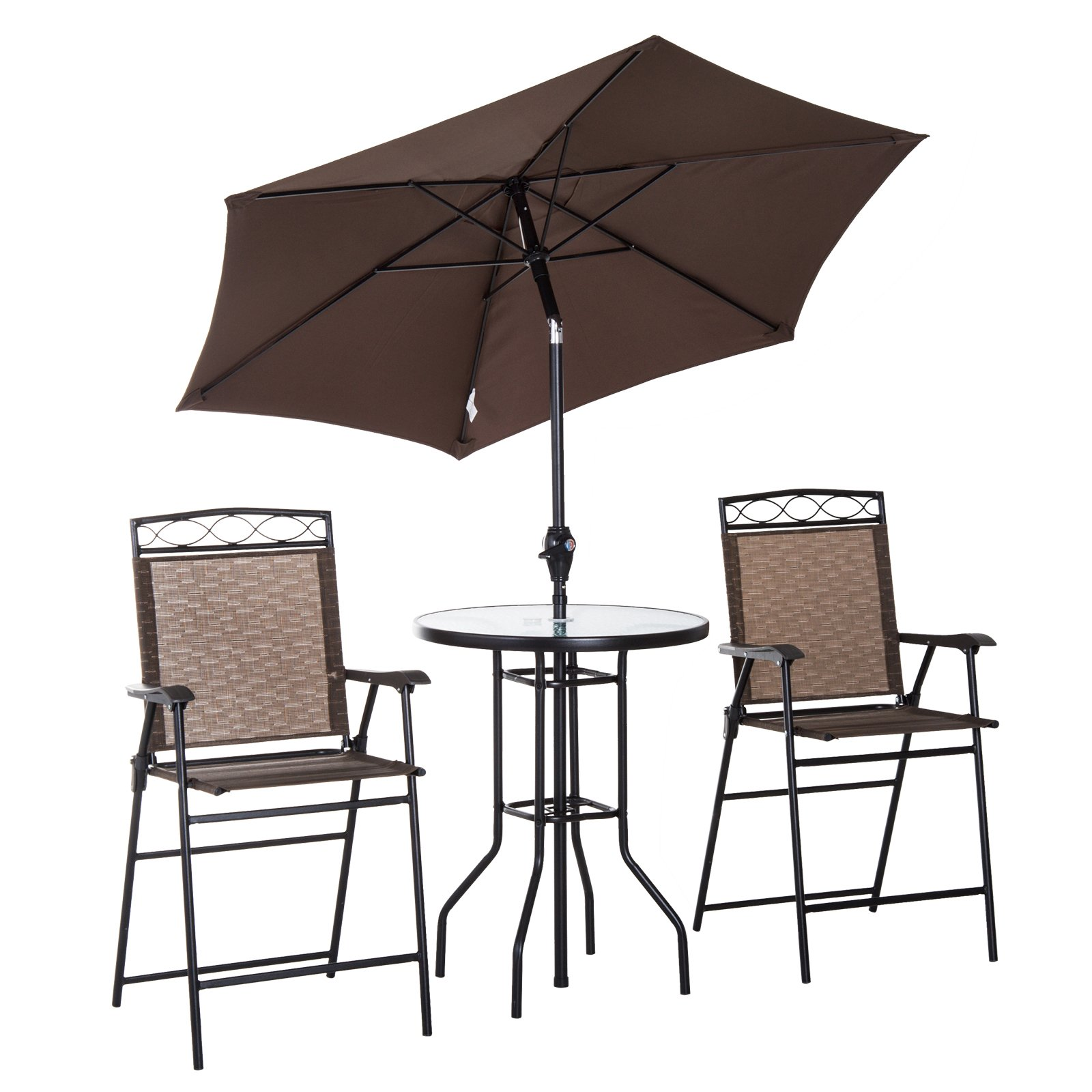 Outsunny 4 Piece Folding Outdoor Patio Pub Dining Table and Chairs Set with 6' Adjustable Tilt Umbrella
