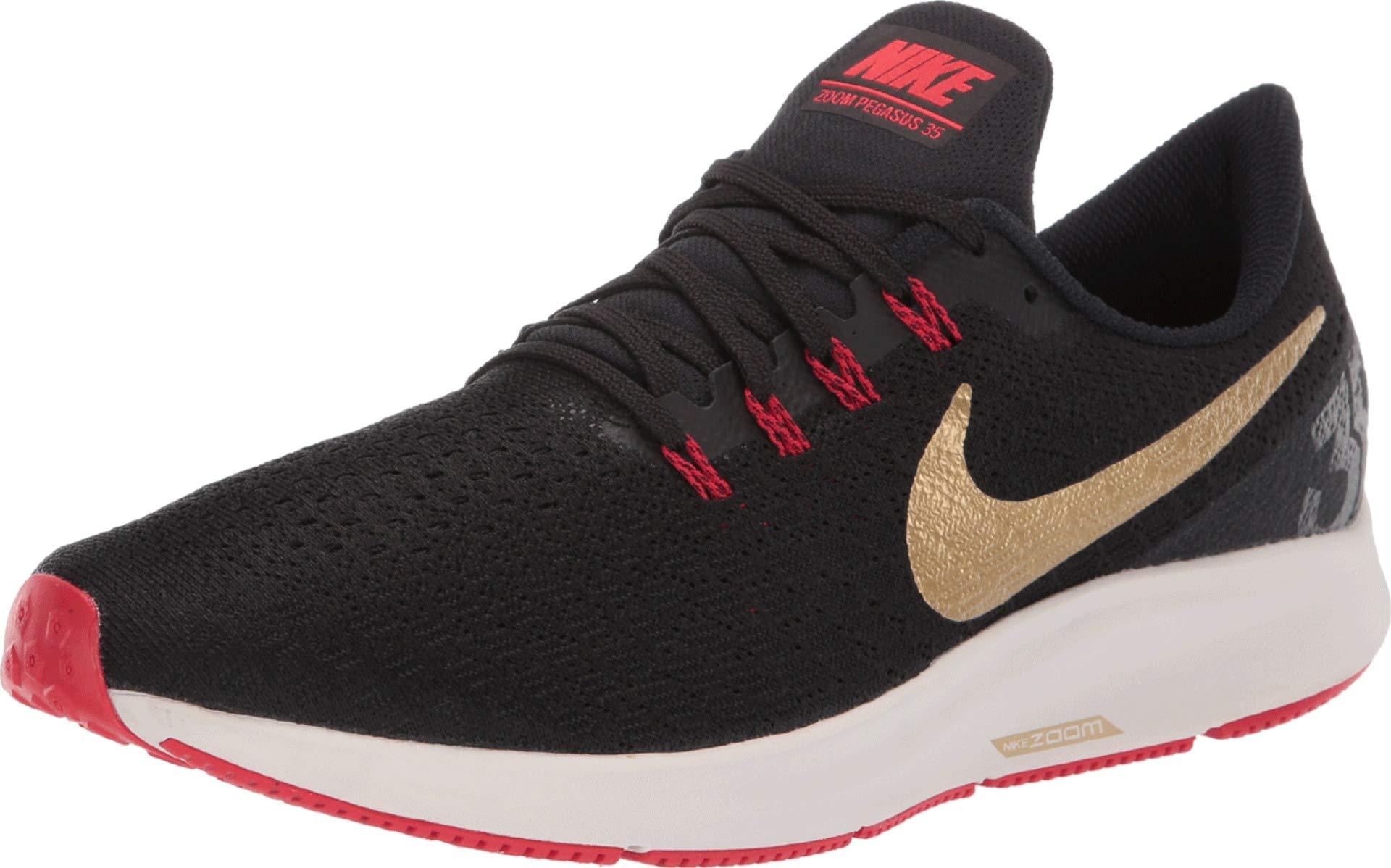 Nike Air Zoom Pegasus 35 Sz 6.5 Mens Running Black/Metallic Gold-University Red Shoes by Nike (Image #1)