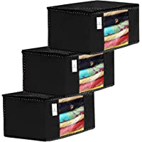 KUBER INDUSTRIES 3 Piece Non Woven Fabric Clothes Organizer Set with Transparent Window, Extra Large, Black, 43x35x22 cm