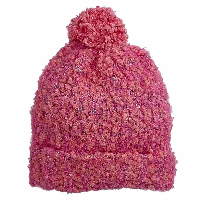 Amazon.com  Capelli Kids Girls Pink   Silver Flecek Pom Beanie ... 35045e1d235