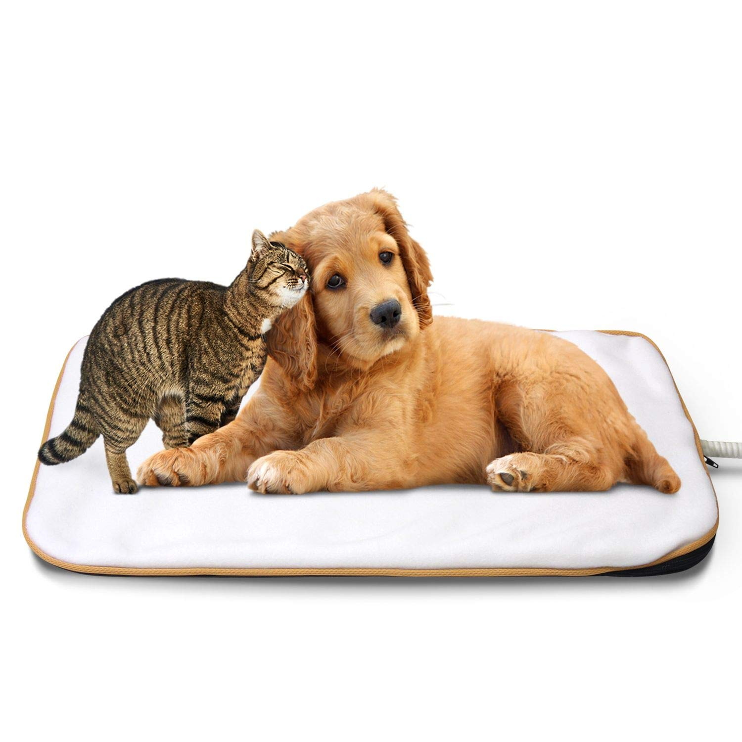 White Medium-15.3\ White Medium-15.3\ Fluffy Paws Indoor Pet Bed Warmer Electric Heated Pad with Free Cover (Dual Temperature & UL Certified), White Medium 15.3  x 20.8