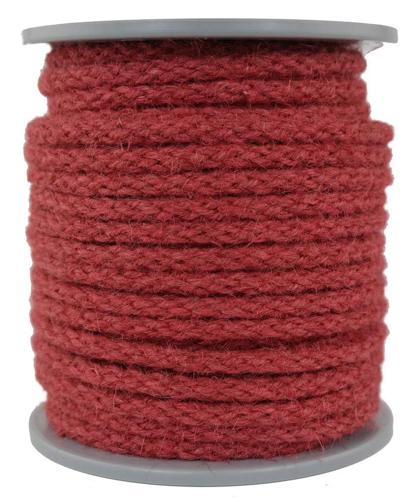Dekoseil//Juteseil//Seil aus Jute//Jute//Jutekordel geflochten Farbe rot Durchmesser ca.7mm L/änge 30 Meter