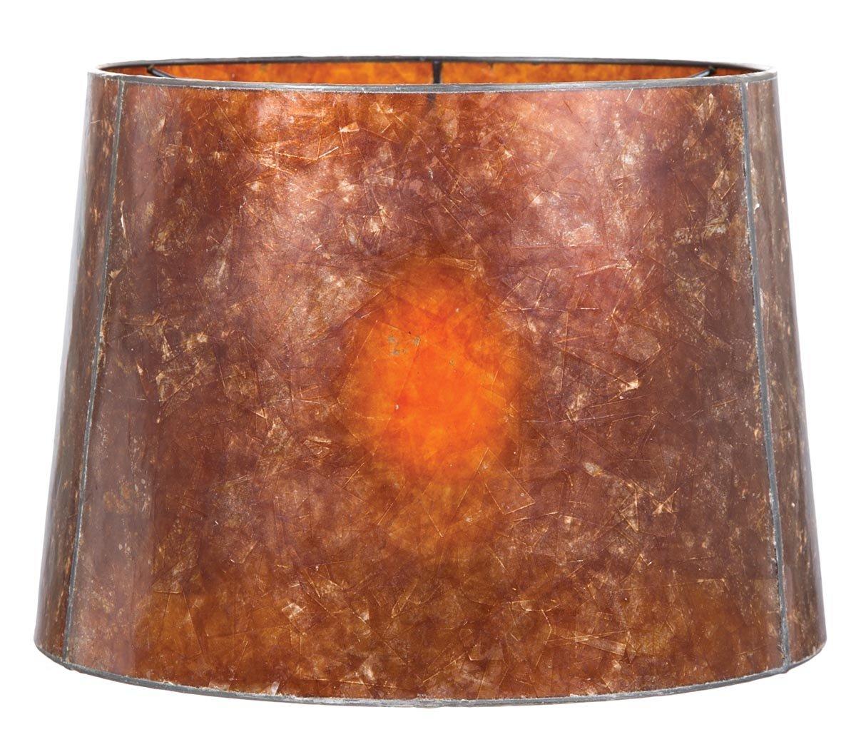 B&P Lamp Antique Amber Deep Drum Mica Shade (12 X 14 X 10)