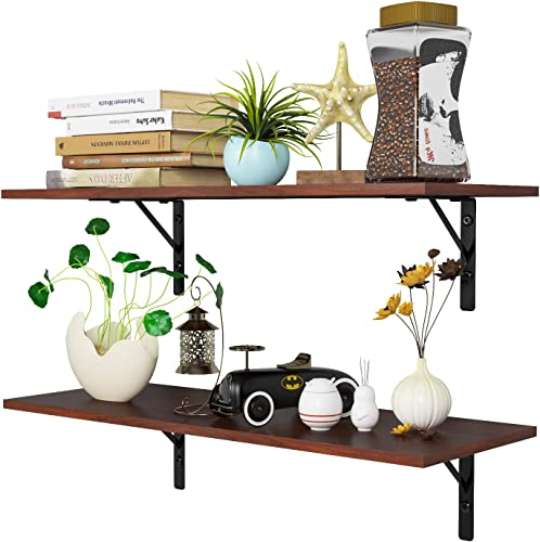 Homfa Floating Shelves Wall-Mounted Display Storage Ledge with Bracket for Bathroom, Kitchen, Living Room, Bedroom, Large 31.5X 11.6X 7.3in Espresso