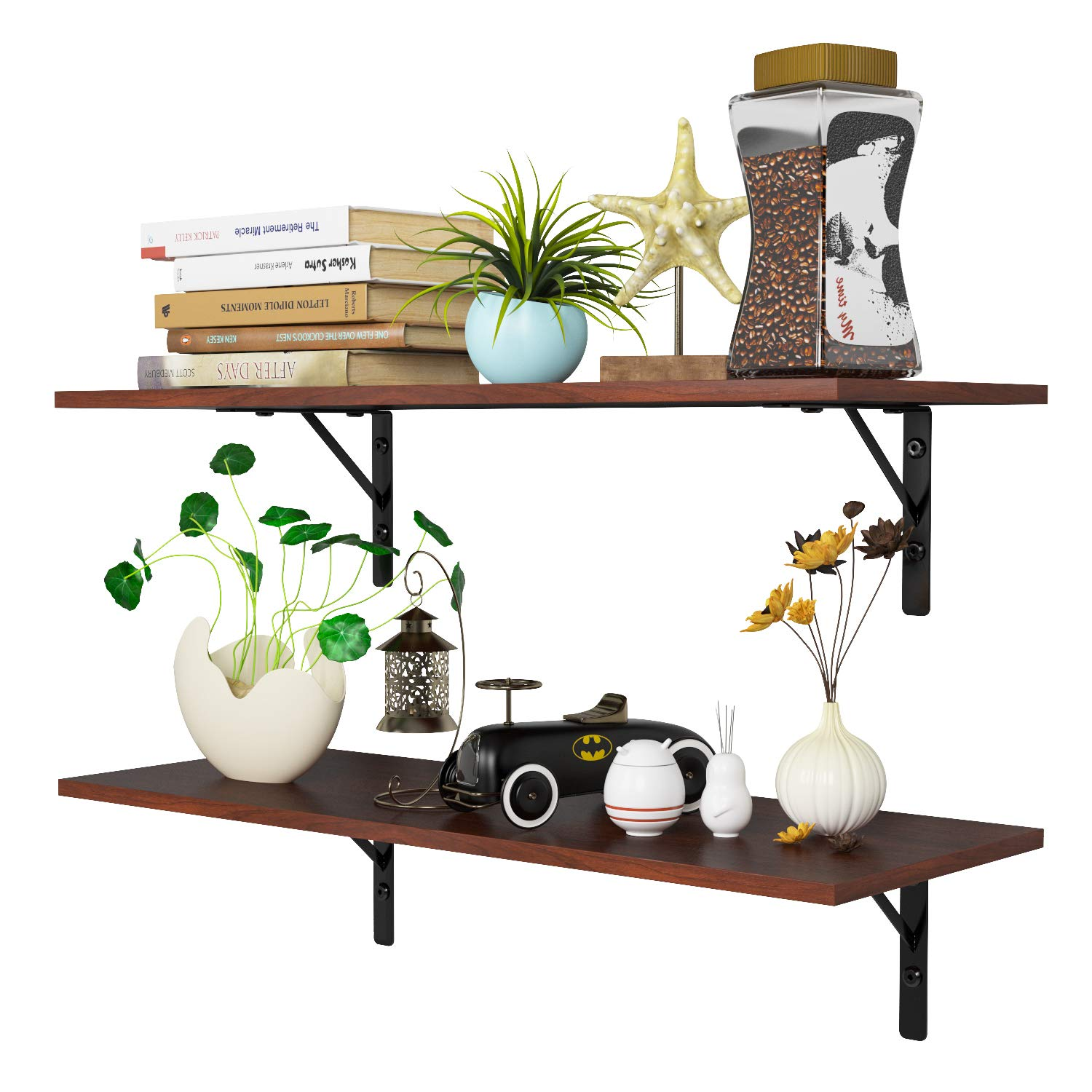 Homfa Floating Shelves Wall-Mounted Display Storage Ledge with Bracket for Bathroom, Kitchen, Living Room, Bedroom, Large 31.5X 11.6X 7.3in (Espresso) by Homfa