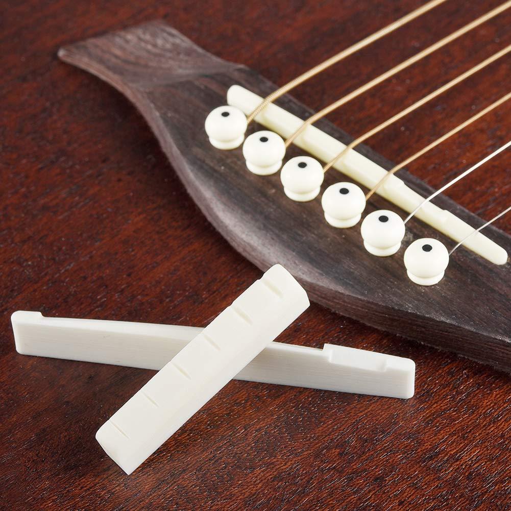 Hueso Puente Silla de Montura y Tuerca para Guitarra Acústica with 2 Papel de Lija: Amazon.es: Instrumentos musicales