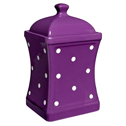 1253419dde0c City to Cottage Handmade Purple and White Polka Dot Large Ceramic  31.5oz/900ml Kitchen