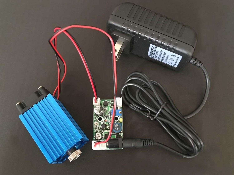 4W産業高出力青色ダイオードレーザー445 / 450nm 4000mw調整可能なレーザードットモジュール12V TTL +アダプタークラス2 B07358KFK2