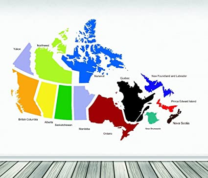 Design with Vinyl RAD 654 1 Canadian Provinces Canada Map Vinyl Wall Decal,  As Seen, 12\