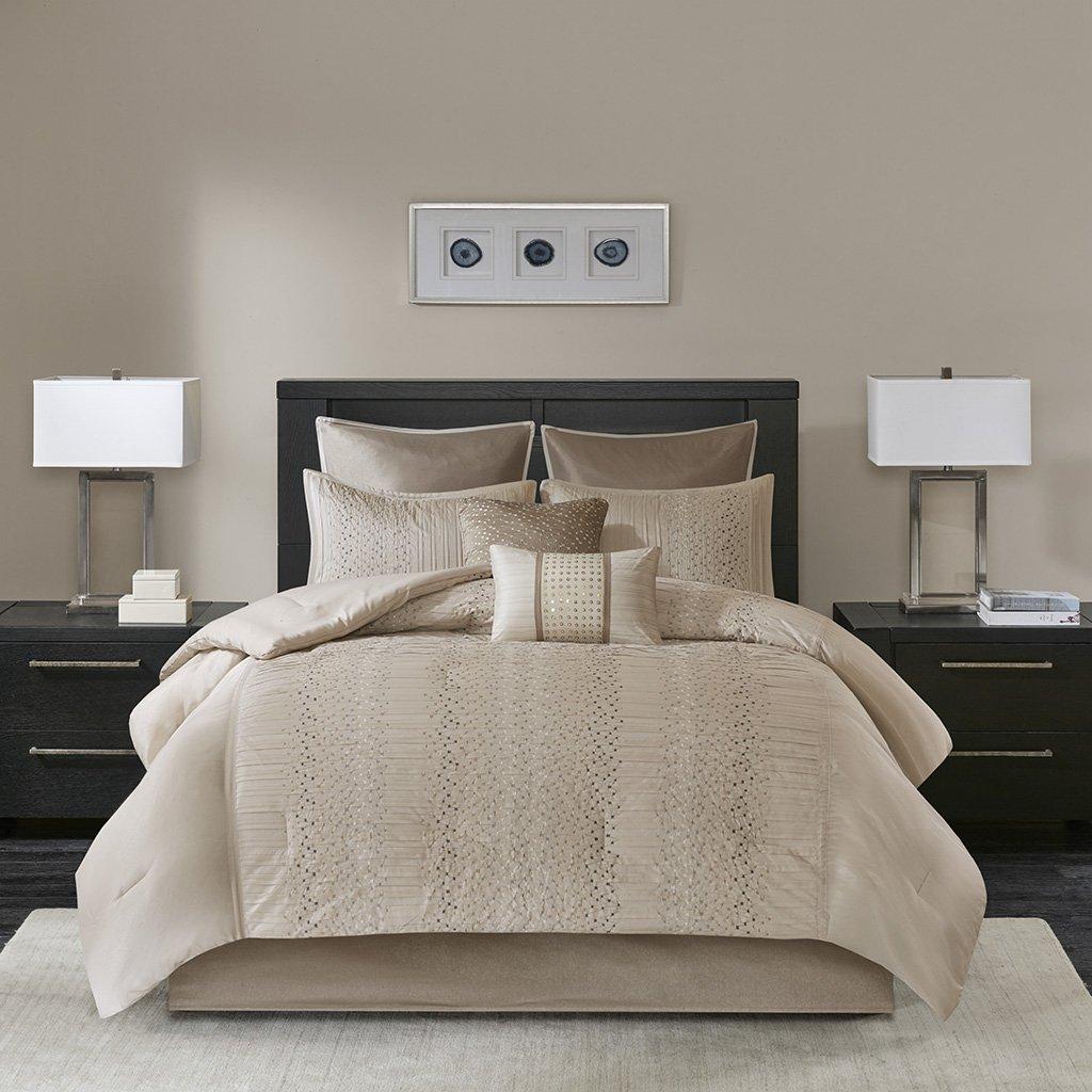 Madison Park Camelia 8 Piece Embroidered Comforter Set Natural King MP10-4689