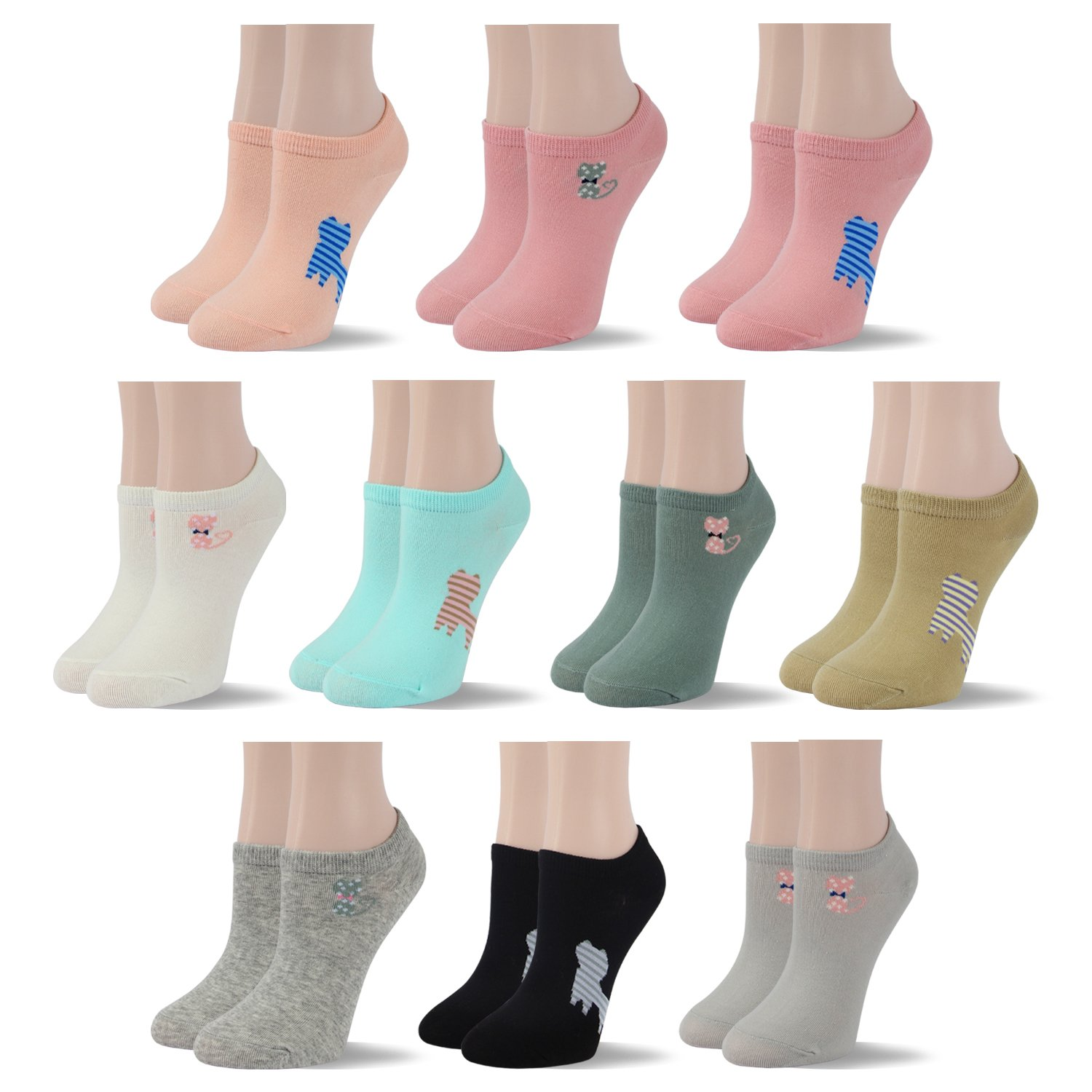 RioRiva Women Fashion Designs No Show Socks - Low cut Cotton Ankle Socks Patterned Style (US Women Size 5-9/EU 35.5-40, WSK115-10 Pack solid colored cat)