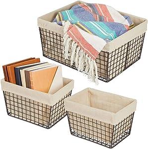 mDesign Metal Farmhouse Household Storage Organizer Basket Bin - Wire Grid Design, Fabric Liner - for Kitchen, Bathroom, Living Room, Pantry, Cupboards, Shelves, Countertops, 3 Pack - Bronze/Natural