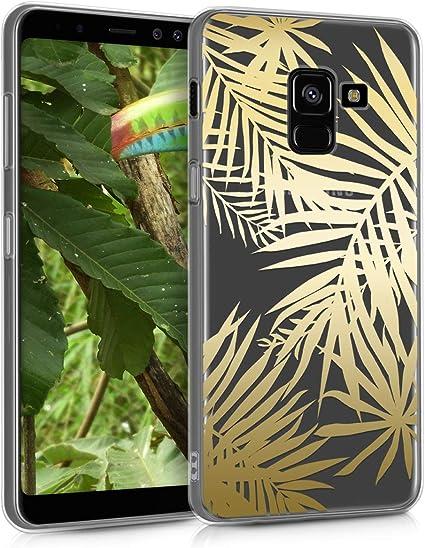 kwmobile Coque Compatible avec Samsung Galaxy A8 (2018) - Housse Protectrice pour Téléphone en Silicone Palmiers doré-Transparent