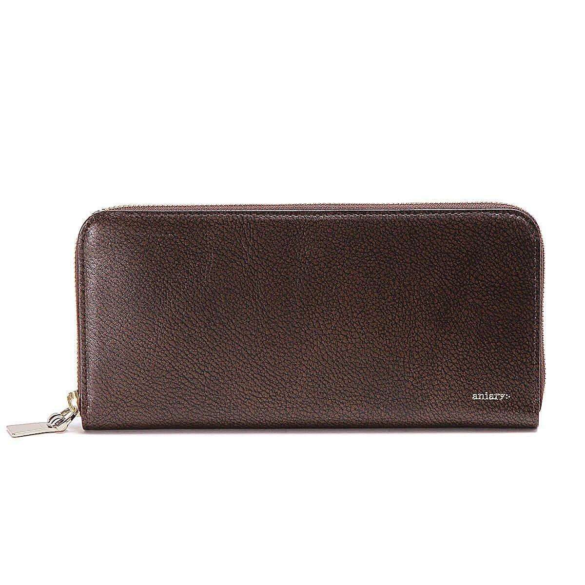 アニアリ 長財布 ラウンドL Zip Bill Holder Grind Leather 15-20003 B07DT4Z5MQ  ブラウン