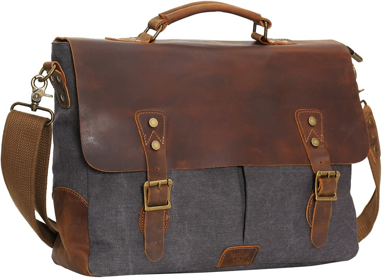 "WOWBOX Messenger Bag for Men 15.6"" Leather Laptop Satchel Briefcase Bags Gray"