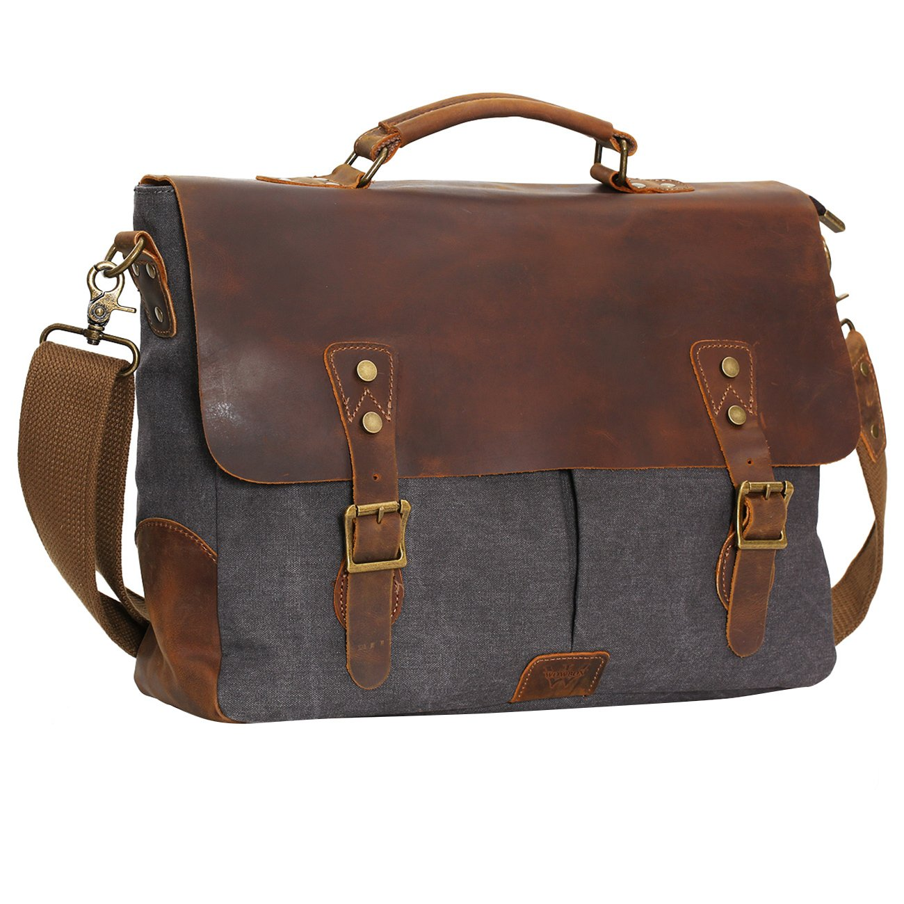 eb563ab57e3a WOWBOX 15.6 Inch Messenger Bag for Mens Vintage Canvas Leather Laptop Messenger  Bags Men Business Briefcase Vintage Large Shoulder Bag School College ...