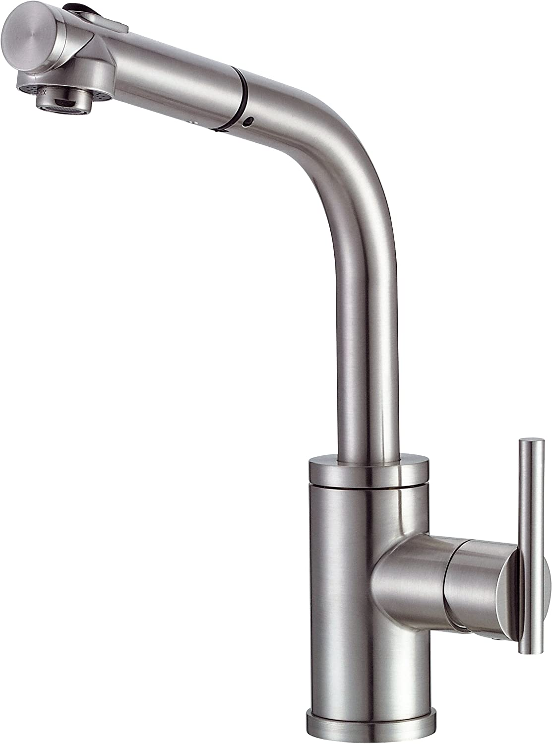 Danze D404058SS Parma Single Handle Pull-Out Kitchen Faucet with SnapBack Retraction, Stainless Steel