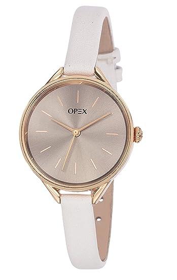 b1cee14dd070 Opex - x4056la1 - See You Soon - Reloj Mujer - Cuarzo Analógico - Reloj  marrón - Pulsera Piel Blanco  Amazon.es  Relojes
