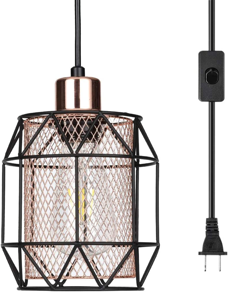 Jaycomey Plug-in Pendant Lights,Industrial Pendant Light with Metal Lampshade,Hanging Light with On Off Switch for Kitchen Island Dining Room