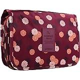 New Hanging Toiletry Bag Bathroom Organizer Travel Nylon Portable Cosmetic Bag for Women and Men (Wine Flower))