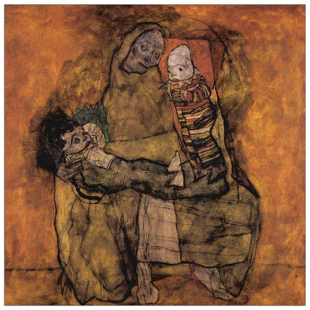 ArtPlaza TW91454 Schiele Egon - Mother with Two Children Decorative Panel, 15.5x15.5 Inch, Multicolored by ArtPlaza