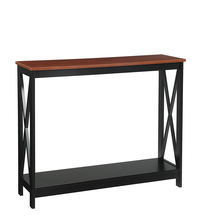Cherry   Black Convenience Concepts Oxford Console Table, Cherry Black