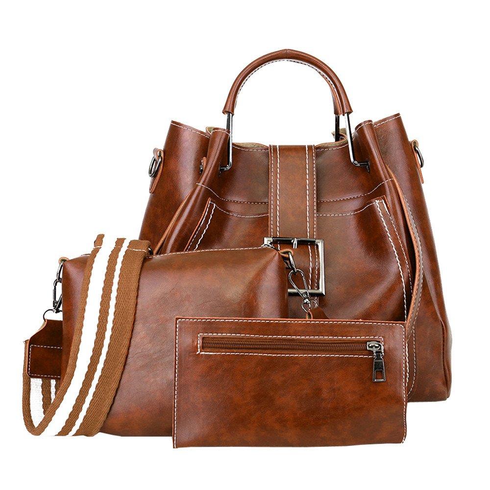 ZHANGVIP 3Pcs Retro Women Solid Color Leather Shoulder Package Handbag+Crossbody Bag+Wallet Purse Clearance (Brown)
