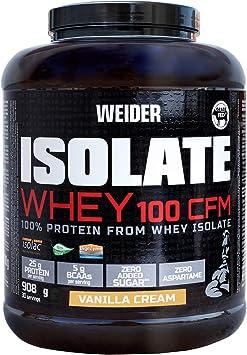 Weider Isolate Whey 100CFM 908gr Sabor Vainilla. 100% aislado de proteina de suero. Cero azúcar, cero aspartamo, con stevia, con dygezime, con BCAA, ...