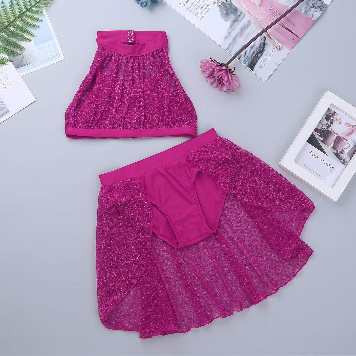 JEATHA Kids Girls Sleeveless Glittery Lyrical Modern Dance Latin Jazz Costumes Crop Top with Tulle Dress Bottoms