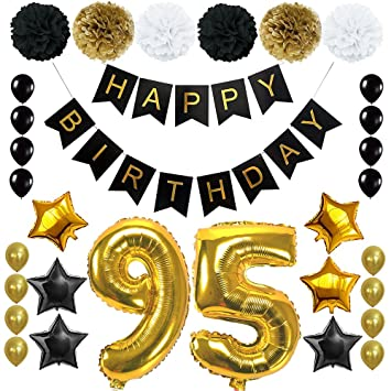 Happy 95th Birthday Banner Ballons Set For 95 Years Old Party Decoration Supplies Gold Black