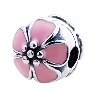 ac86ed4e0 Image Unavailable. Image not available for. Color: Pandora Cherry Blossom  Silver Clip with Pink Enamel Charm 791041EN40