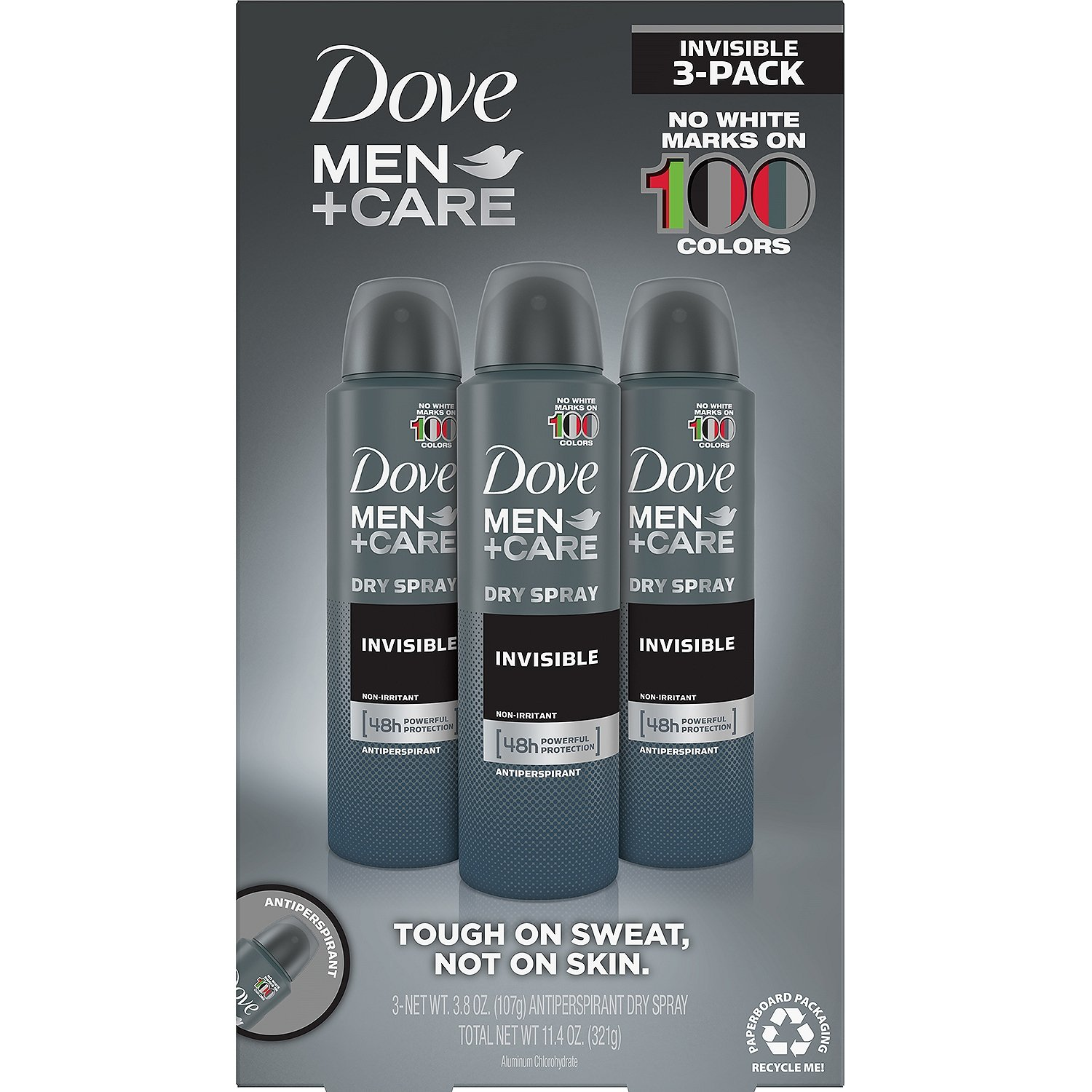 Dove Men Care Invisible Dry Spray Deodorant (3.8 oz, 3 pk.)