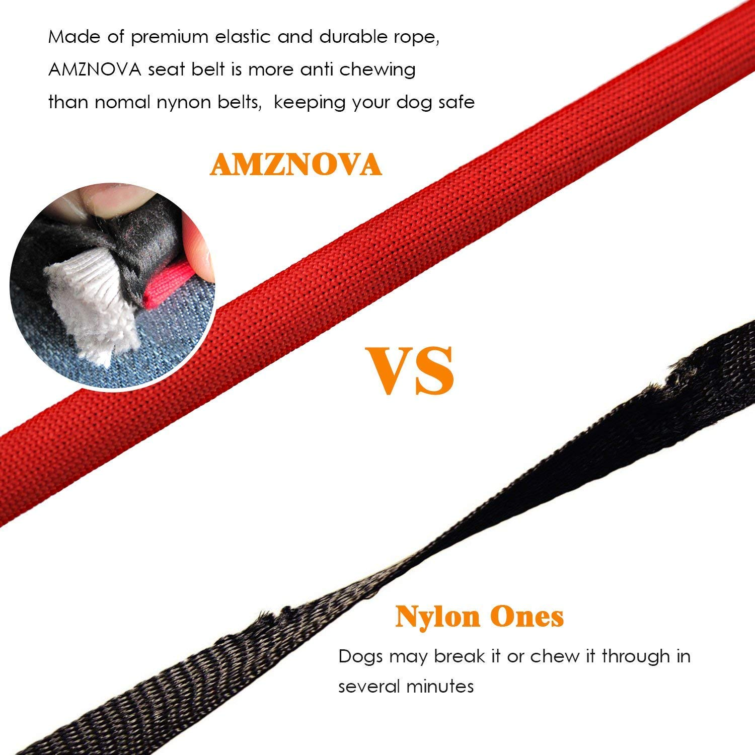 M AMZNOVA Dog Seat Belt Explosion-proof Rushed Dog Car Harness Restraint Pet Safety Latch Seatbelt Durable for Cat Puppy Small Large Dogs Travel Carring Red
