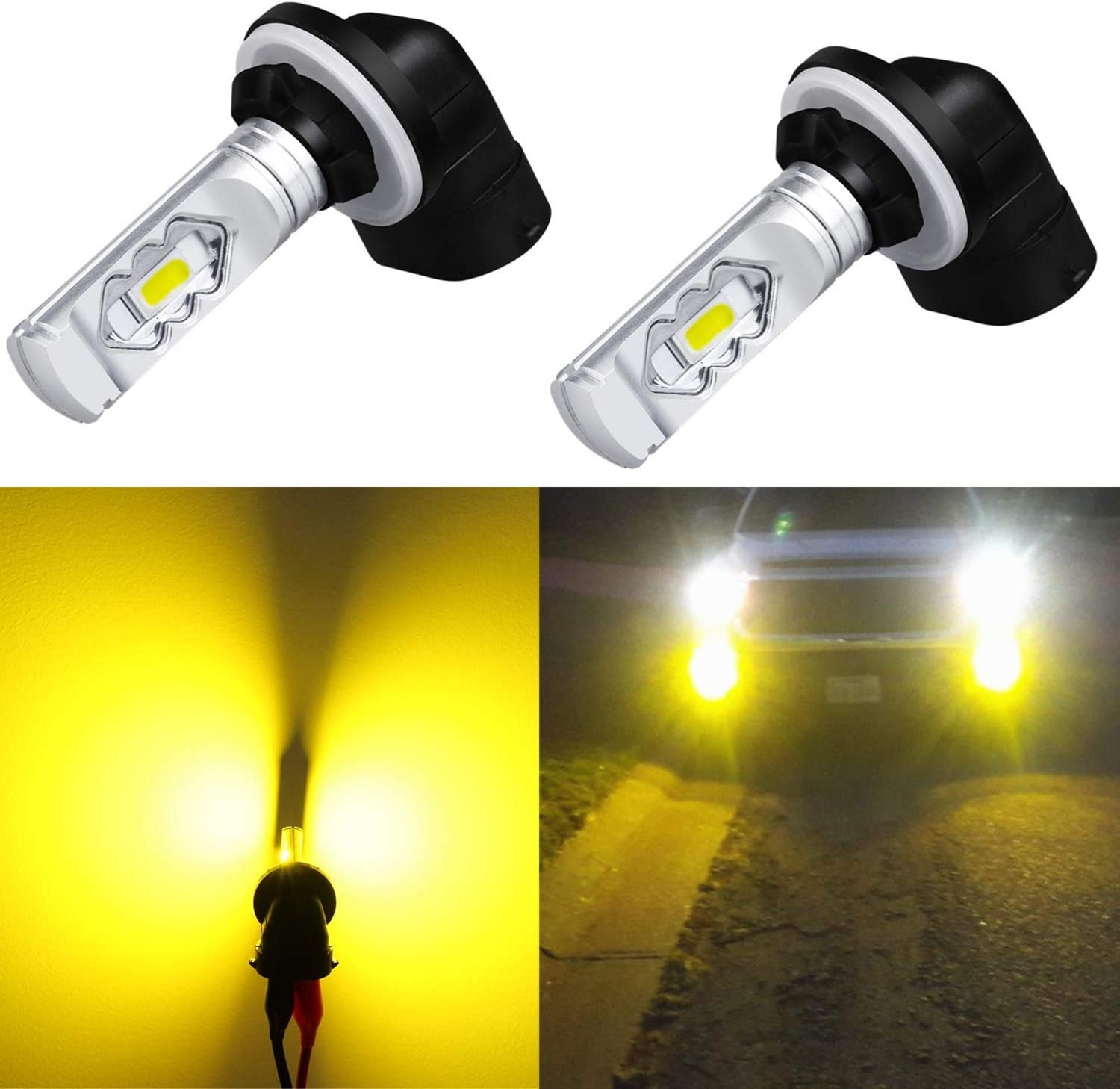 Alla Lighting 3800lm 889 881 LED Fog Light Bulbs Xtreme Super Bright 3000K Amber Yellow ETI 56-SMD 898 886 894 H27 Replacement