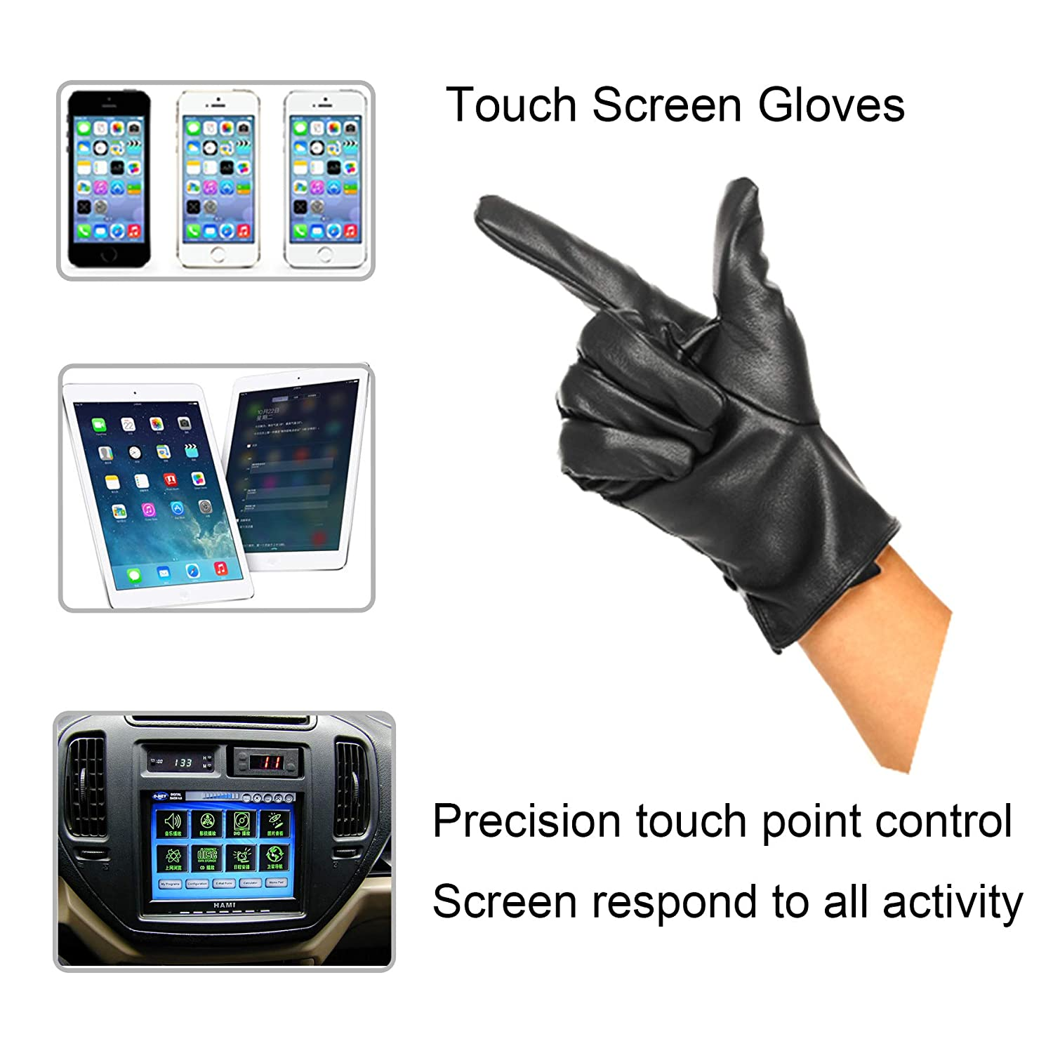 XL,Black Soul Young Leather Driving Gloves For Men Touchscreen Texting Winter Warm Black
