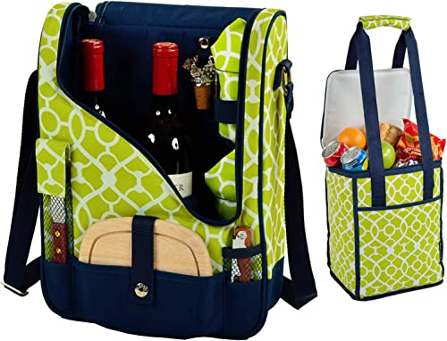 Picnic at Ascot Original Wine and Cheese Tote for 2 with Matching Cooler – Designed Assembled in California – Trellis Green