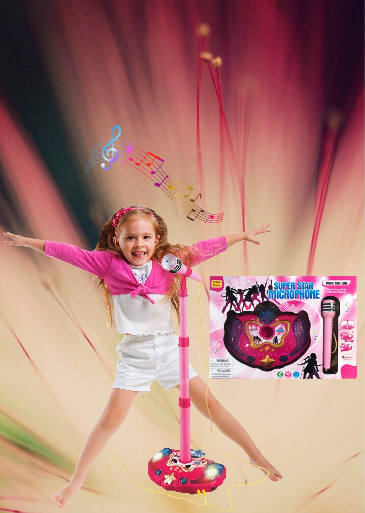 LilPals Princess Karaoke -Children's Toy Stand Up Microphone Play Set w/ Built-in MP3 Player, Speaker, Adjustable Height (Pink) by LilPals (Image #5)