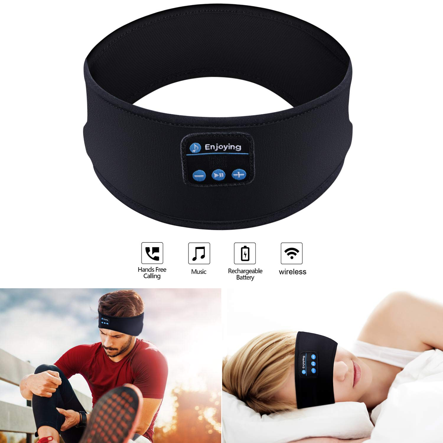 Auriculares Bluetooth Headband Sleep SKYEOL Inalambrico Bluetooth Sleeping Headband con Mic Built-in Stereo Speakers par