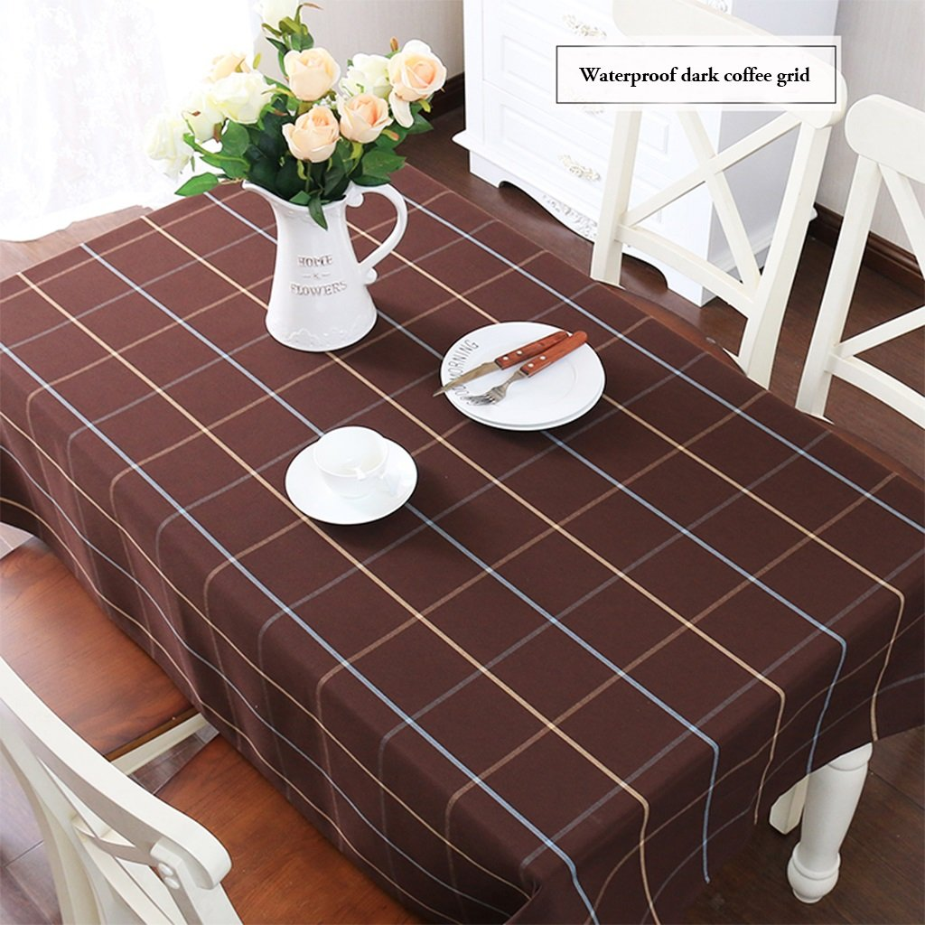 Gtt Simple pastoral waterproof plaid tablecloths rectangular coffee table round tablecloths (color   I, Size   140x200cm)
