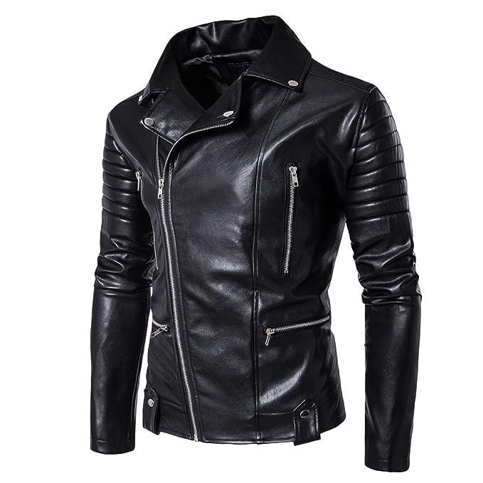 Elonglin Homme Veste Moto Rocker Punk En Simili Cuir Blouson Simili Cuir  Zippé Slim Fit Noir  Amazon.fr  Vêtements et accessoires 4716598ca8e