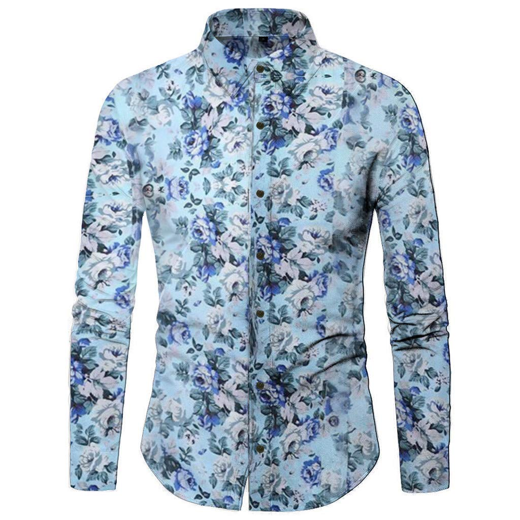 baskuwish Mens Floral Dress Shirt Causal Long Sleeve Paisley Flower Party Luxury Printed Button Down Shirts