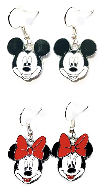 2 Pairs Disney Mickey Mouse and Minnie Mouse Head Character Dangle Hook Earrings W/Gift Box