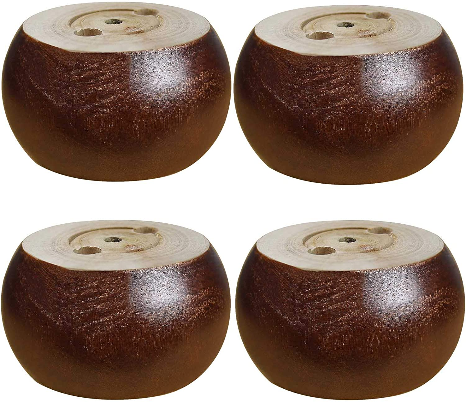 AORYVIC 2 inch Wooden Bun Feet for Furniture Round Sofa Bed Leg with Screws Set of 4