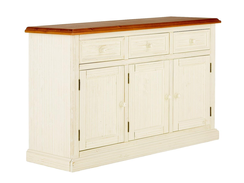 massivum Sideboard Santa Cruz 135x85x45 cm Pinie weiß lackiert