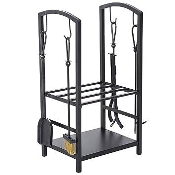 Serviteur de cheminée , porte bûches , range bûches multi accessoires 2  étagères 40L x 30l x 75H cm acier noir